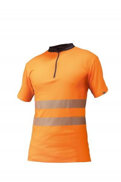 Zipp-Neck Shirt EN 20471 kurzarm