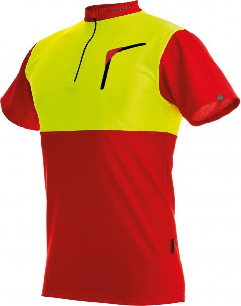 Zipp-Neck Shirt Neon kurzarm